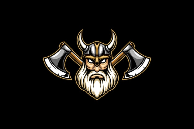 Viking head and double axe  esport logo