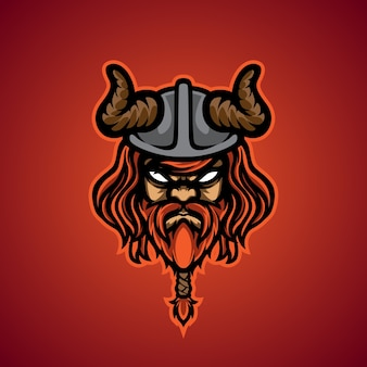 Логотип талисмана viking head e sport