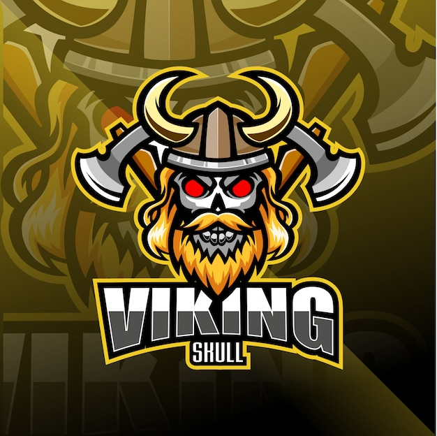 バイキングヘッドeスポーツマスコットロゴ