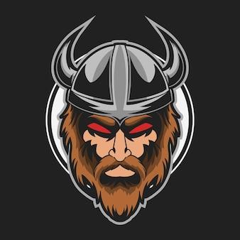 バイキングの頭の邪悪なベクトル図