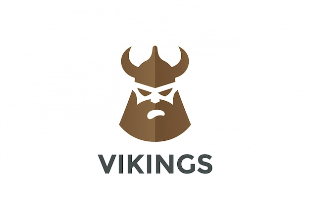 Viking head in helmet silhouette logo. negative space style.