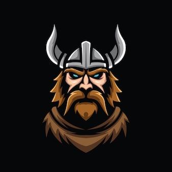 Иллюстрация головы викинга, изолированные на черном