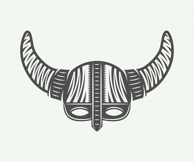 Viking helm in retro style Premium Vector