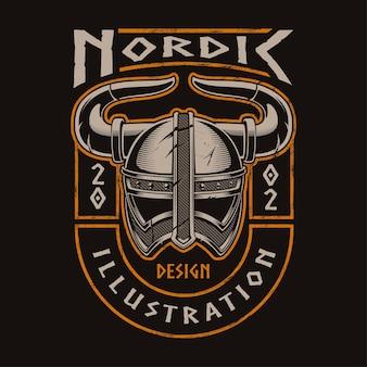 戦士のバイキングヘルメット。 tシャツのプリントのイラスト。すべての要素は独立しています。テキストは別のレイヤーにあります。