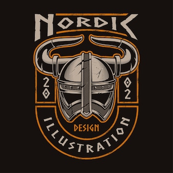 Viking helmet of warrior.  illustration for print on t-shirt. all elements are separate. text is on the separate layer.