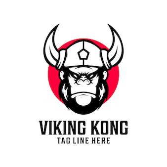 Viking kingkong logo design vector template
