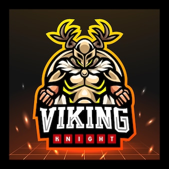 Викинг рыцарь талисман киберспорт дизайн логотипа