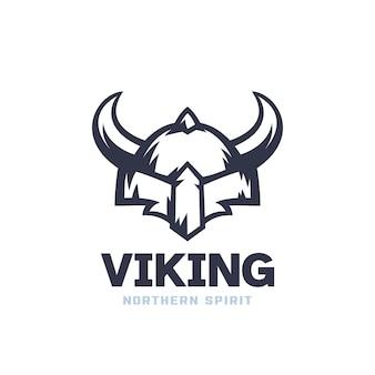 Логотип викинга со шлемом с рогами
