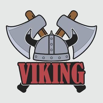 ヘルメットと交差した軸を持つバイキングのロゴ。洋服のデザイン、tシャツ、アパレルのプリント。エンブレムのテンプレート。ベクトルイラスト。