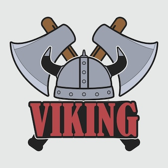 Viking logo with helmet and crossed axes. clothes design, print for t-shirt, apparel. template of emblem. vector illustration.