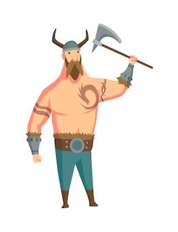 角のあるヘルメットと斧を持つバイキングの男。スカンジナビアの伝説のひげを生やした男性の戦士または英雄。武器を持つ漫画野蛮な歴史のキャラクター。