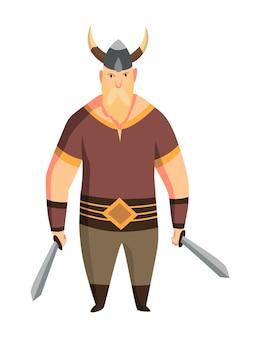 뿔이 달린 헬멧과 두 개의 칼을 가진 바이킹 남자. 수염 난 남자 전사 또는 스칸디나비아 전설의 영웅. 무기와 만화 야만인 역사 캐릭터