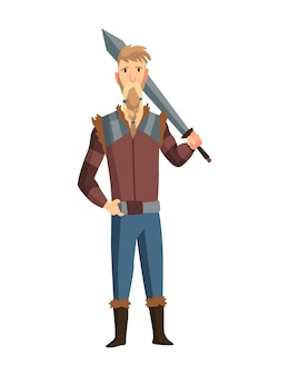 칼을 든 바이킹 남자. 수염 난 남자 전사 또는 스칸디나비아 전설의 영웅. 무기와 만화 야만인 역사 캐릭터입니다.