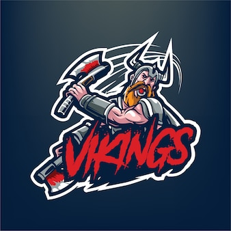 Viking mascot for esport and sport logo isolated