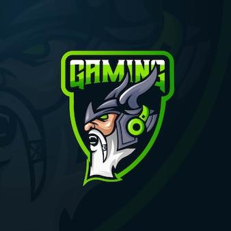 Вектор дизайна логотипа талисмана викинга с современным стилем концепции иллюстрации для печати значка, эмблемы и футболки.