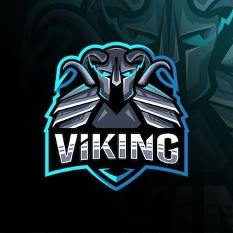 バイキングマスコットのロゴのテンプレートデザイン