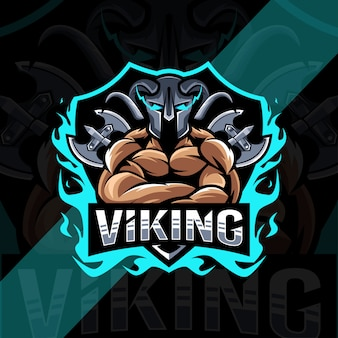 Шаблон логотипа талисмана викинга