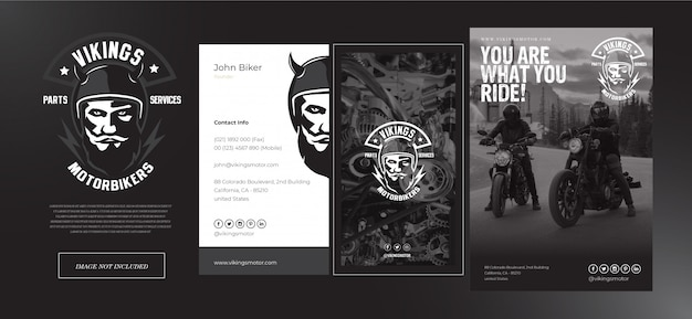 Viking motorbike shop set logo, name card and flyer template in black and grey
