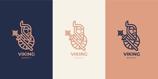 바이킹 노르딕 스칸디나비아 모노라인 로고 럭셔리