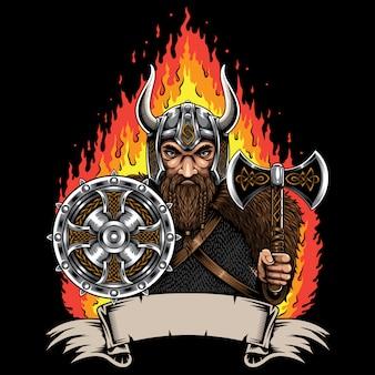 Viking norseman with ribbon illustration