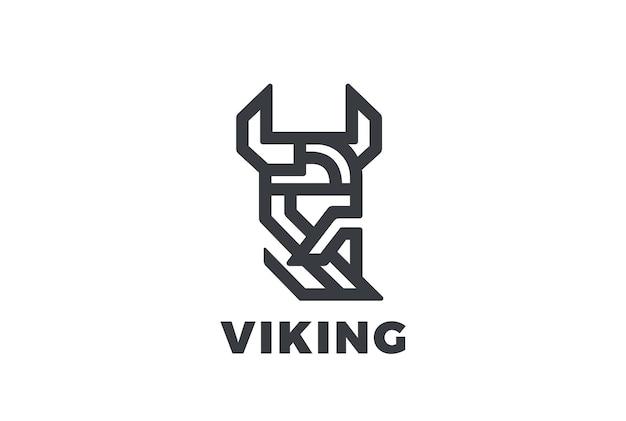 Viking odin head in helmet with beard logo.
