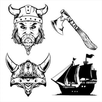 Дизайн упаковки викингов черный и белый
