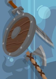 Плакат викингов со щитом и оружием. скандинавский дизайн плаката в мультяшном стиле.