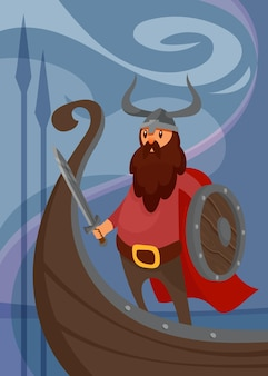 Viking poster with warrior on ship. scandinavian placard design in cartoon style.