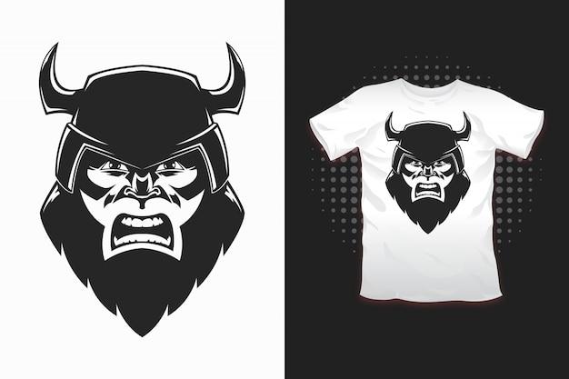 티셔츠 디자인을위한 바이킹 프린트 프리미엄 벡터