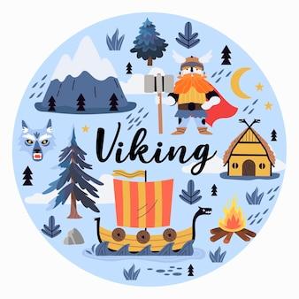 バイキングプリントまたはグリーティングカード