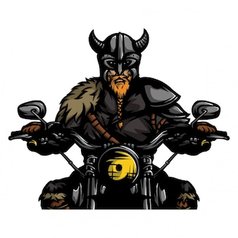 Viking ridding motorcycle vector