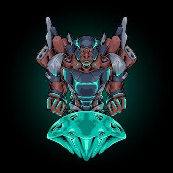 Viking robot cyberpunk  illustration