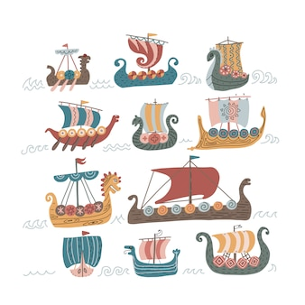 Viking scandinavian norman ships set