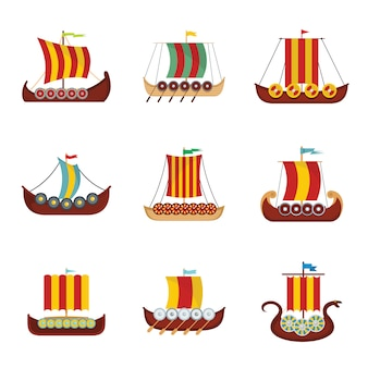 Viking ship boat drakkar icons set