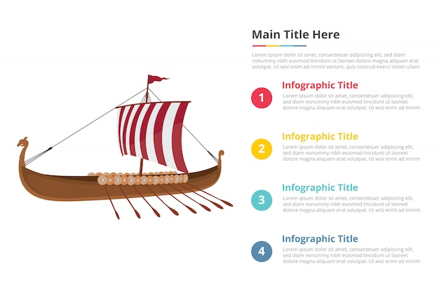 Viking ship infographics template with four points