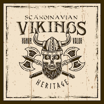 Viking skull and crossed axes vector brown emblem, label, badge or t shirt print on background with grunge textures