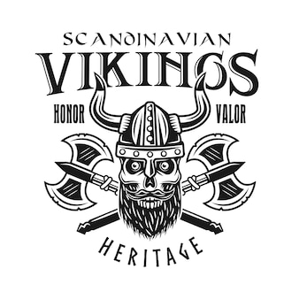 Viking skull and crossed axes vector emblem, label, badge, logo or t-shirt print in monochrome style isolated on white background