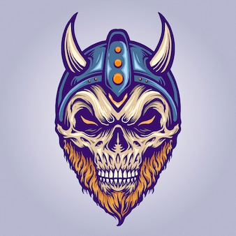 Голова черепа викинга с роговым шлемом векторные иллюстрации для вашей работы логотип, футболка с товарами-талисманами, наклейки и дизайн этикеток, плакат, поздравительные открытки, рекламирующие бизнес-компанию или бренды.