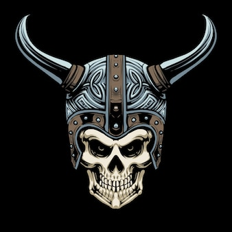 Viking skull helmet illustration design