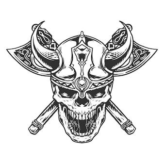 手描きの白い背景で隔離のバイキングの頭蓋骨のイラスト