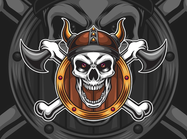 Viking skull illustration