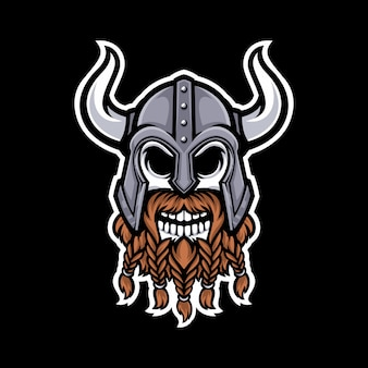 Viking skull mascot logo isolated