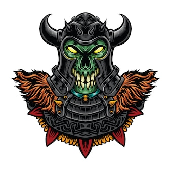 Viking skull monster illustration color