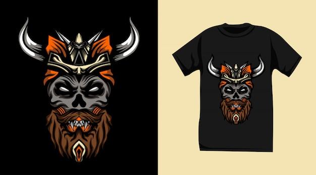 바이킹 해골 몬스터 티셔츠 디자인