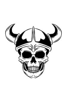バイキングの頭蓋骨のベクトル図