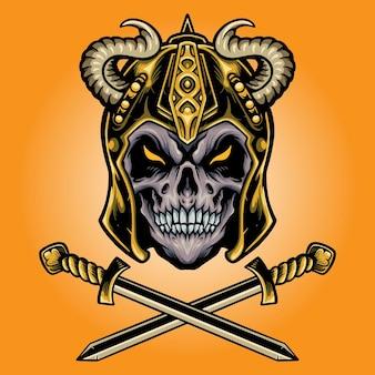 Воин-череп викинга с мечом. векторные иллюстрации для вашей работы. логотип, футболка с товарами-талисманами, наклейки и дизайн этикеток, плакат, поздравительные открытки, рекламирующие бизнес-компанию или бренды.