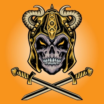 Viking skull warrior with sword vector illustrations for your work logo, mascot merchandise t-shirt, stickers and label designs, poster, greeting cards advertising business company or brands.