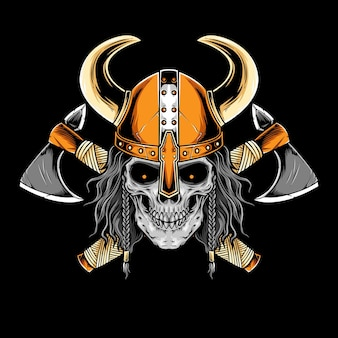 Viking skull with armor vector artwork