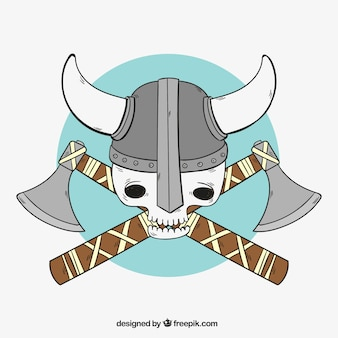 Viking skull with axes background