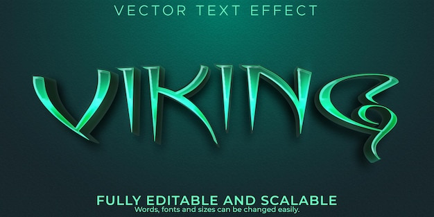 Текстовый эффект викингов, редактируемый вандал и скандинавский стиль текста